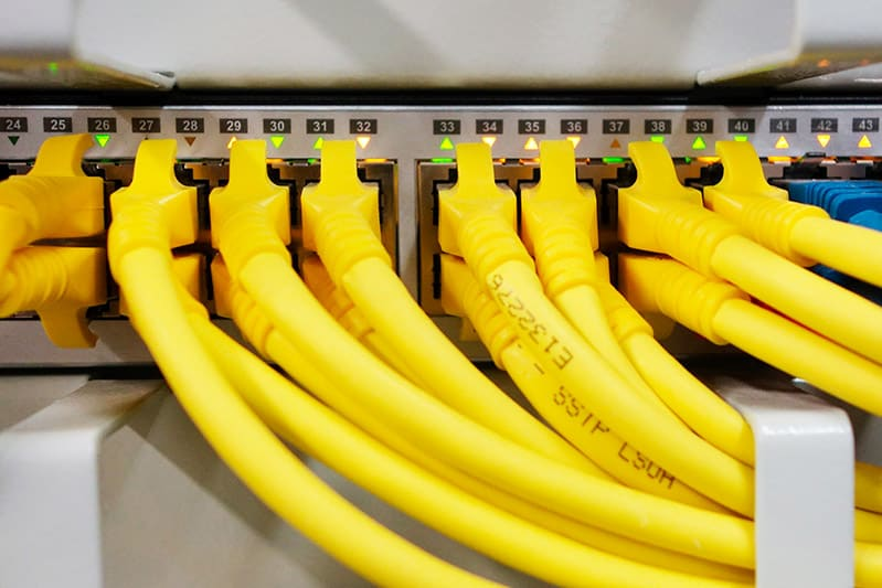 cables and router for business network